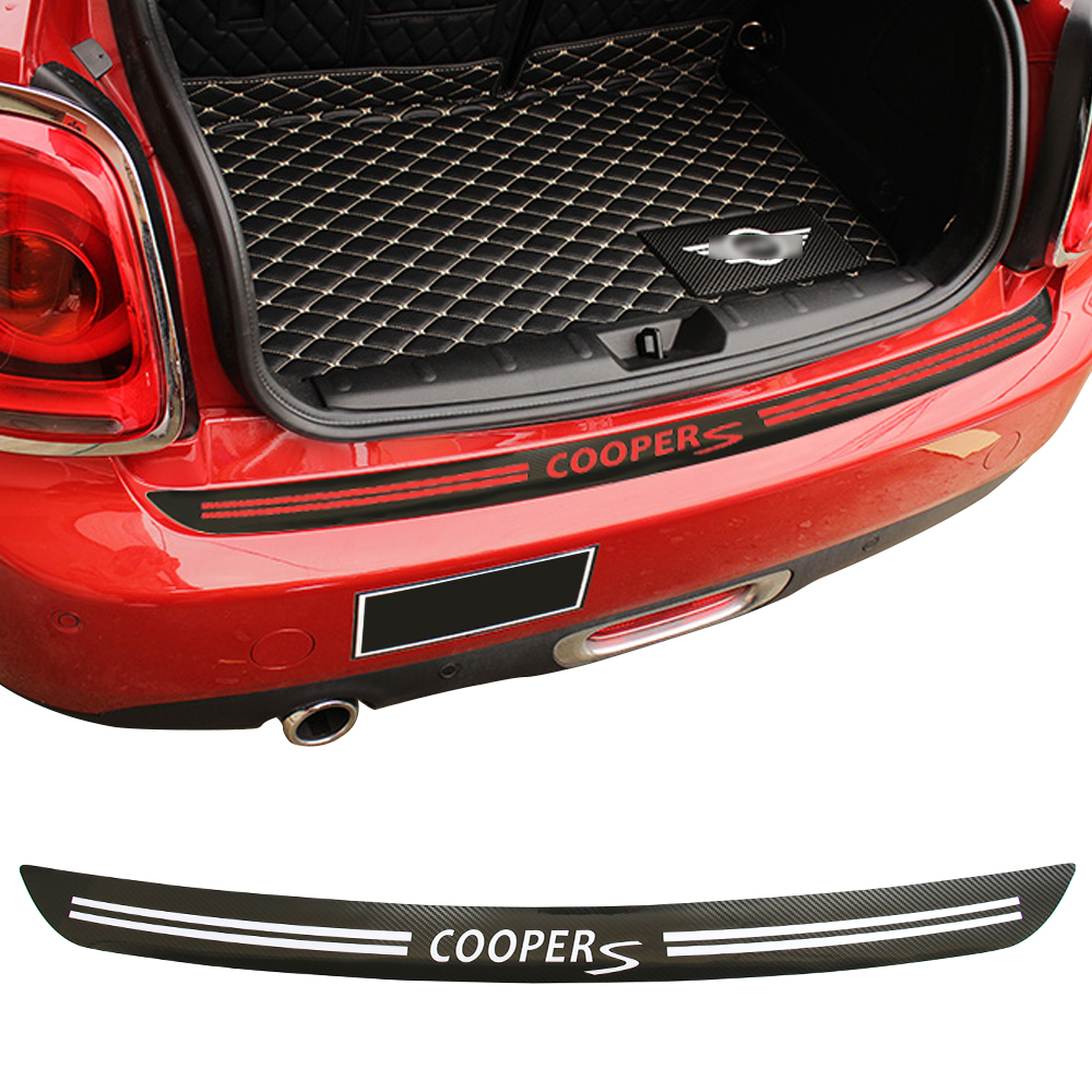 5D Carbon Fiber Vinyl Decal Stickers Car Rear Bumper Trunk Load Edge Protector Guard Trim for Mini Cooper S JCW R56 Cabrio R57