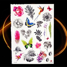 Animal World Temporary Tattoo Stickers Watercolor Owl Swan Horse Fake Tattoos Beauty Cartoon Kids Girls Boys Tattos Body Arm Art