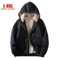 2018 Winter 6XL 7XL 8XL Plus Size Sweatshirts Men Hip Hop Loose Fleece Men Streetwear Patchwork L 8XL Big Men Warm Jackets Coats