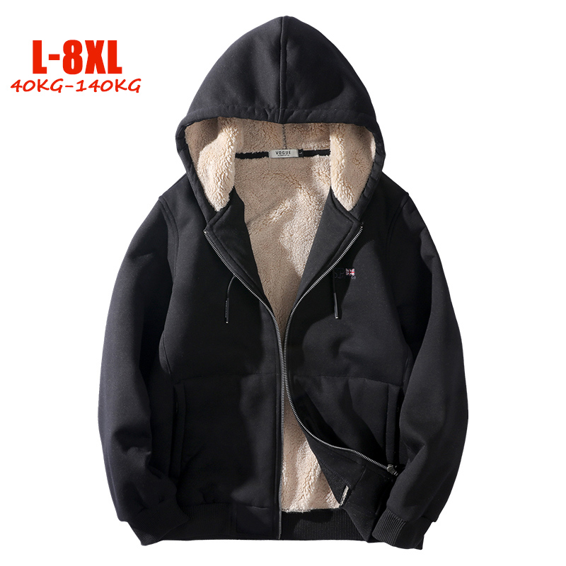 6XL 7XL 8XL Plus Size Hooded Sweatshirts Men Jackets Autumn Winter Fleece Men Streetwear Hooded L-8XL Big Men Jackets Coats