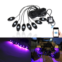 RGB Led Rock Lights Bluetooth Multicolor Neon Led Light Kit W/ 8 Pods Lights For Jeep Offroad Trunk Boat SUV Underbody Glow Lamp