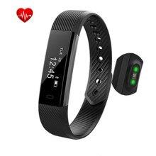 Mkuyt Фитнес трекер ID115 сердечного ритма Мониторы вызова напоминать с Сенсорный экран Смарт-браслет для Android IOS Телефон