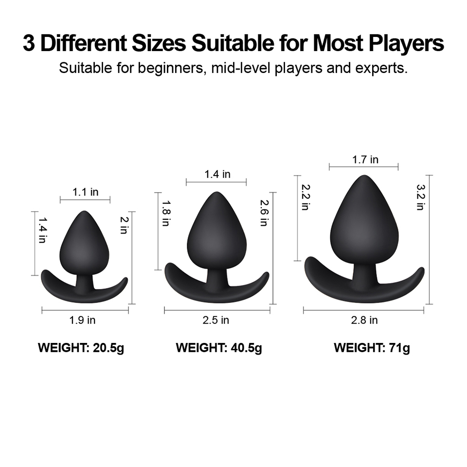 Luvkis 3Pcs Set Spades Butt Plug Prostate Climax Dilator Anal Plug Silicone Adult Sex Toys for