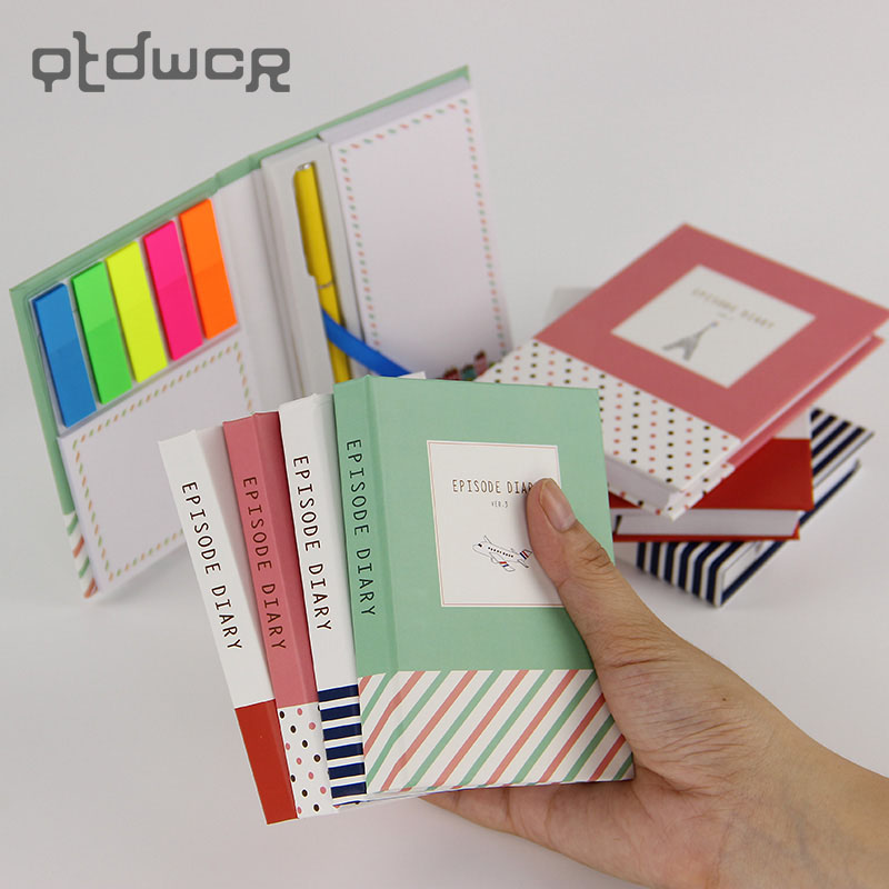 1PC Korean Creative Tower Hardcover Combine Memopad Notepad Stationery Diary Notebook Office School Supplies With Pen factory direct office supplies stationery 25 20 notebook korean creative diary custom thick notepad 1 pcs