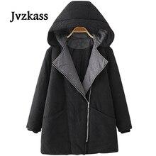Jvzkass, новинка, плюс размер, Женское пальто с большим отворотом, с капюшоном, в длинном разрезе, свободный, плюс толстый, зимний, хлопок, костюмы для женщин Z47