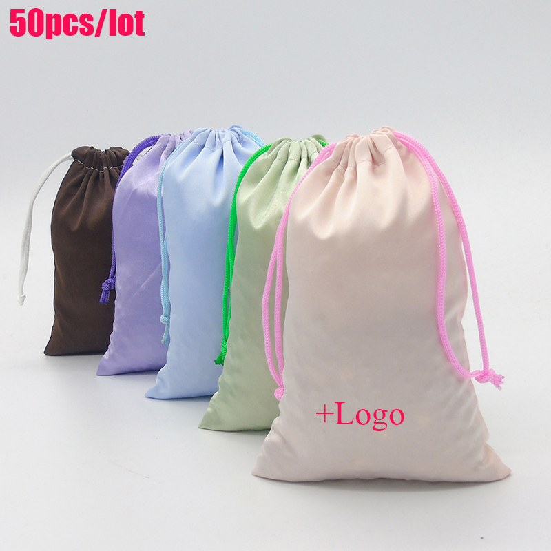30*40cm Storage Drawstring Pouch Matte Elastic Satin Hair Bag High Grade  Products Packaging