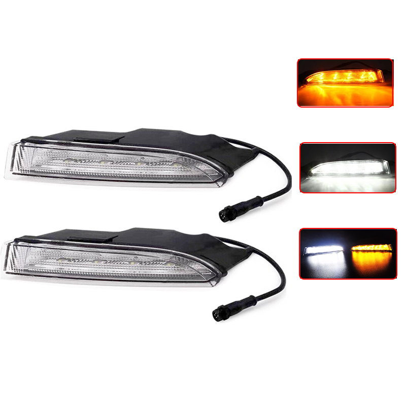 Car Light 1 set For VW Volkswagen Scirocco R Line 2010 2011 2013 2014 LED DRL Daytime Running Lights with Turnnig Yellow Signal car styling led drl daytime running light for volkswagen vw golf 7 mk7 2013 2017 led bumper drl with yellow turn signal