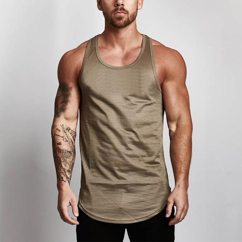 Brand Blank Bodybuilding Stringer   Tank     Tops   Mesh Sportswear Tanktop Fitness Men Gyms Clothing Muscle Sleeveless shirts