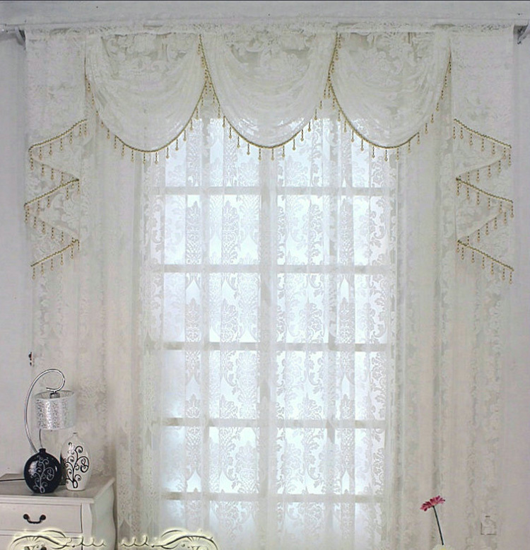 Luxury European White Tulle Voile Sheer Window Curtains With Valance For  The Bedroom Living Room ...