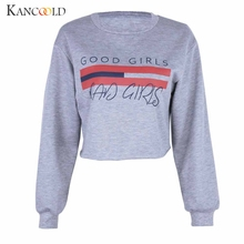 KANCOOLD Sweatshirts Letters printed hedging ladies short Streetwear O-Neck full hoodies women big size 2017 dec1