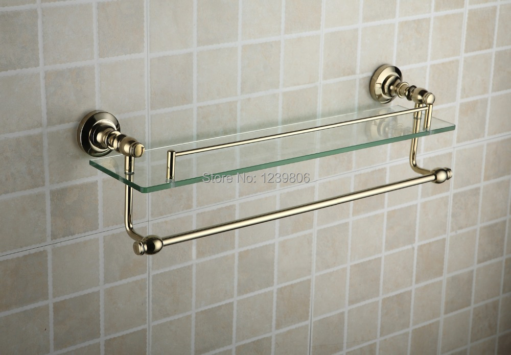 2014top sale single glass shelf golden brass made base towel shelf double deck space towel rack - Towel racks for small spaces concept ...