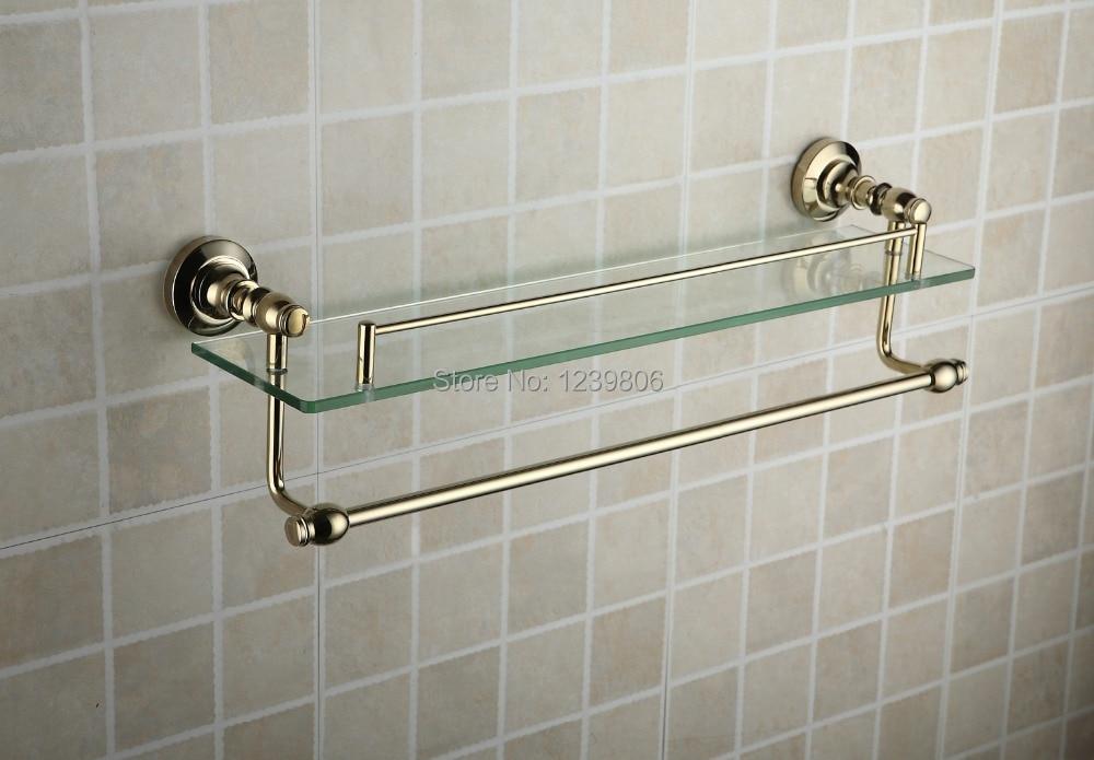 2014top sale single glass shelf golden brass made base towel shelf double deck space towel rack - Towel racks for small spaces concept ...