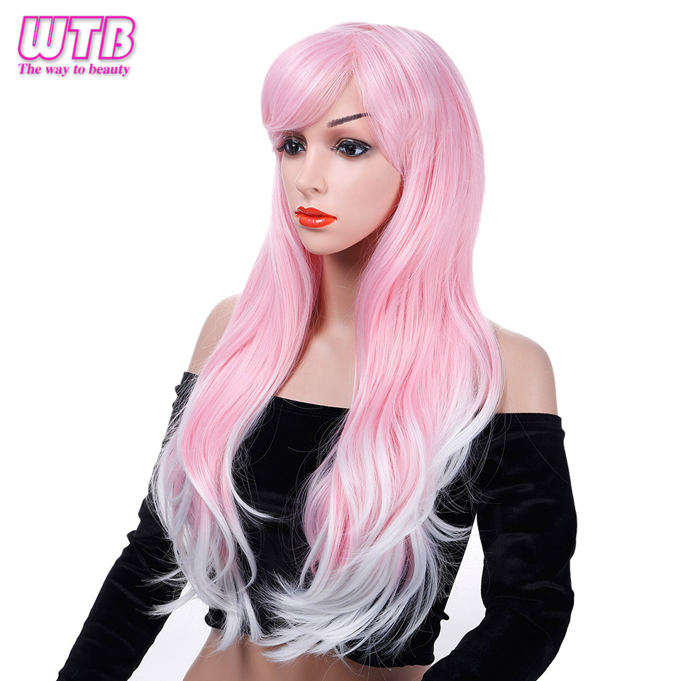 WTB Synthetic Long Wavy Pink Wigs For African American Heat Resistance Fiber Cosplay Wigs With Free Wig Cap