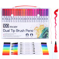 12/18/24/36/48/72/100 Colors Fineliner Art Marker Pens Drawing Painting Watercolor Dual Tip Brush Pen School Stationery Supplies