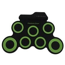Портативный электронный барабан цифровой USB 7 колодки складной барабан набор силиконовые электрические барабанные колодки комплект с барабанные палочки педаль