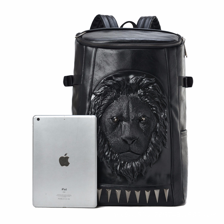 3d Embossed Lion Head Bucket Soft Backpack With Stunning Spikes Cool Leather Travel School Bagpack Punk Rock Concert Bags #2