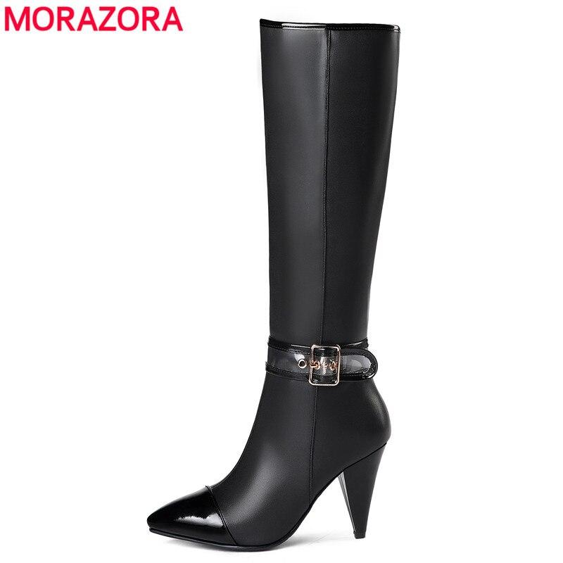 MORAZORA 2020 nouveauté en cuir véritable genou bottes femmes bout pointu automne hiver bottes mode zip noir dames chaussures-in Bottes hautes from Chaussures    1