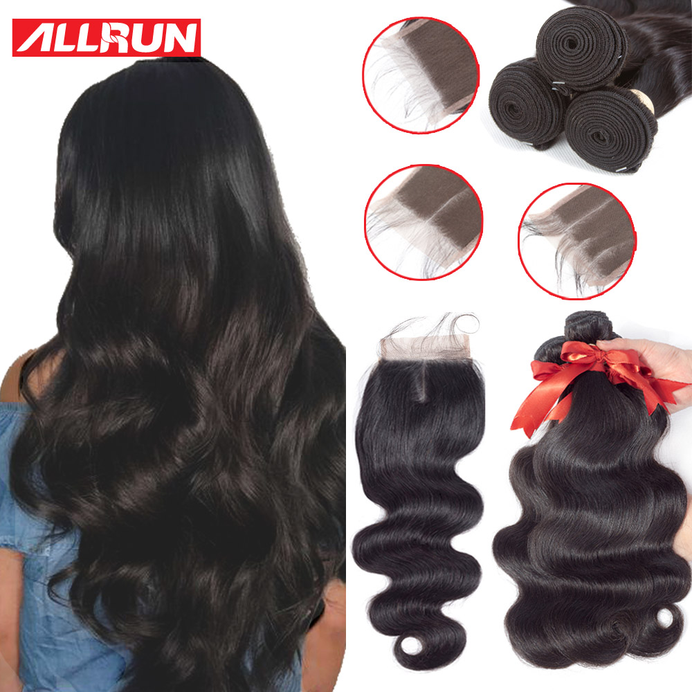ALLRUN Body Wave Brazilian Hair Weave Bundlar With Closure 2/3 Bundles Non Remy Human Hair Bundles With Closure Hair Extension