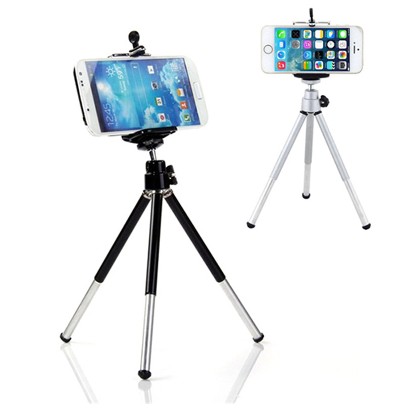 Mini 360 Degree Rotatable Stand Tripod Mount + Phone Holder For IPhone Samsung HTC For All Mobile Phone Universal Phone Holder