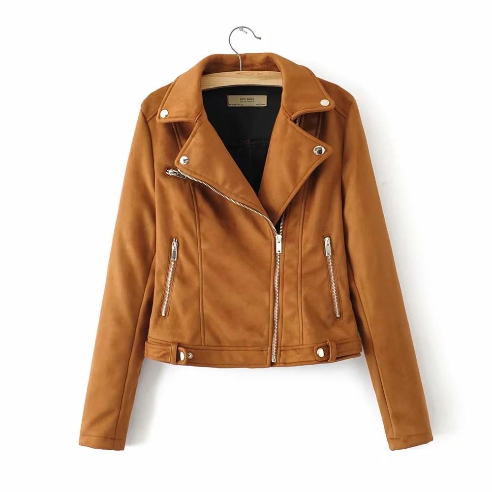 cool Ladies moto-biker outerwear coat fashion black women   suede     leather   jackets female burgundy bomb jacket street-wear