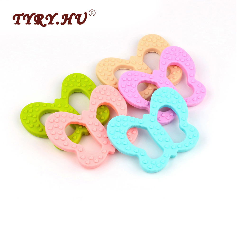 TYRY.HU 1PC Silicone Butterfly Teether BPA Free Food Grade Baby Teethers Baby Teething Chewed Toys For Nursing Necklace Making