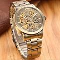 SHENHUA Vintage Bronze Case Men Skeleton Analog Male Waterproof Shockproof Clock Mechanical Automatic Self Wind Watch Wristwatch