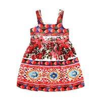 High Quality Girls Dress Brand Children Clothing Summer Beach Bohemian Braces Dress Floral Kids Clothes Sundress