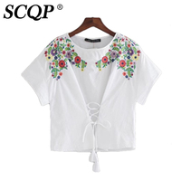 SCQP Fashion Floral Embroidery White Womens Tops Bandage O Neck Toyouth Summer Women T Shirt Elegant