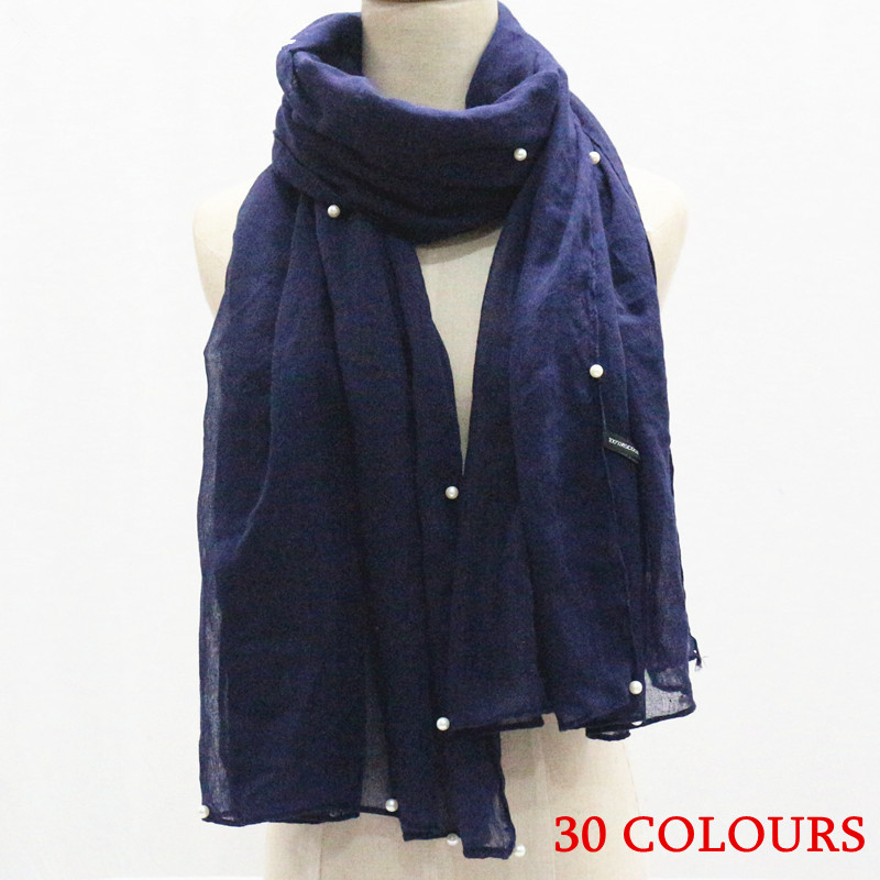 38 colors women pearl plain hijab scarf solid muslim headband soft volie scarves shawls pearls edges foulard muffler echarpe