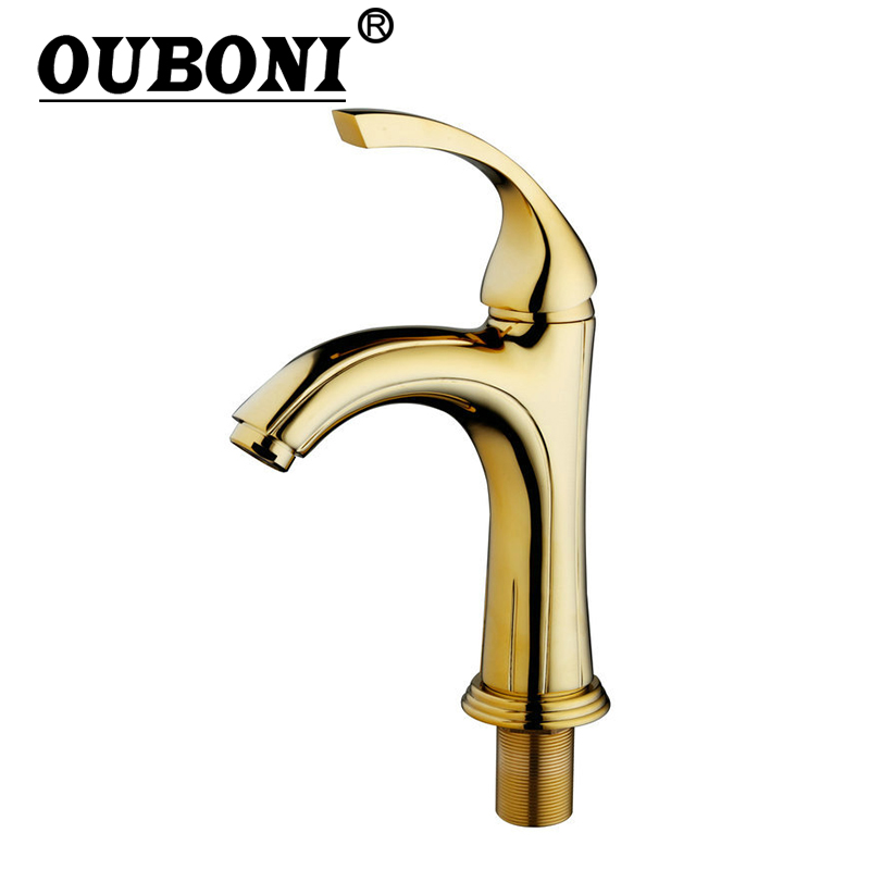 OUBONI Luxury Golden Brass Bathroom Basin Sink Mixer Tap Faucet Hot & Cold Mixer Deck Mounted Tap Bathroom Sink Brass Body luxury golden finish bathroom basin faucet single handle bathroom sink mixer faucet crane tap brass hot cold water deck mounted