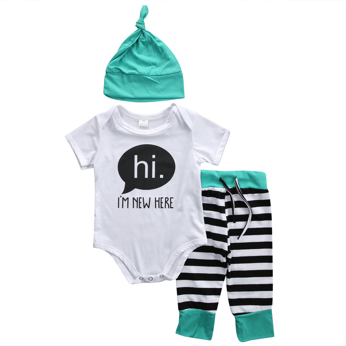 3PCS Casual Newborn Baby Boys Girls IM New Here Short Sleeve Bodysuit+Striped Pants+Hat Outfit Set Clothes