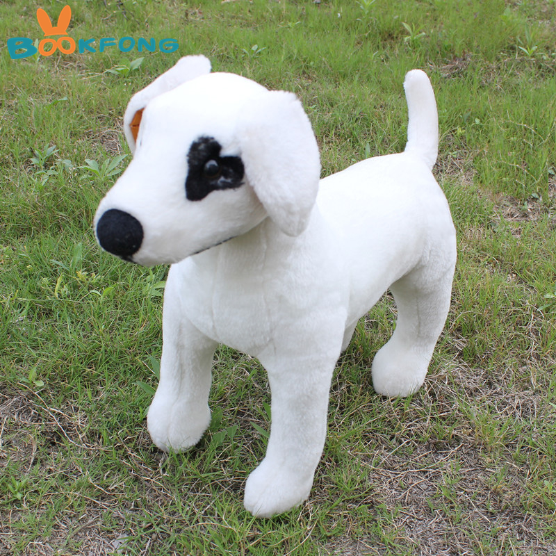 45CM Simulation Pet Puppy White Dog Bull Terrier Plush Doll Lifelike Stuffed Animal Dog Good Quality Gift for Children stuffed animal 55cm plush simulation squatting pug dog toy doll great gift free shipping w395