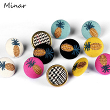 Colorful Embroidered Pineapple Earrings For Women Cute Fruit Summer Stud Round Button Trendy Gifts Girls