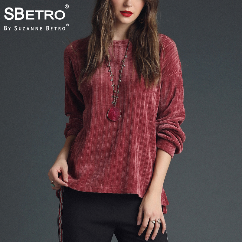 SBetro By Suzanne Betro Rose Red Chenille Sweater ScoopNeck Oversized Long Balloon Slv Top Women Ladies Femme XXXL Plus Size