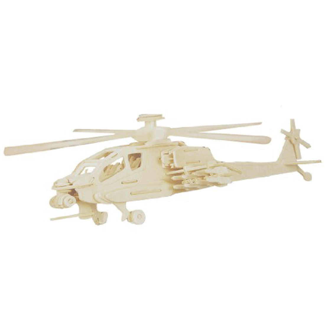 MACH New Child 3D Wooden Apache Model Woodcraft Construction Kit Puzzle Toy Gift