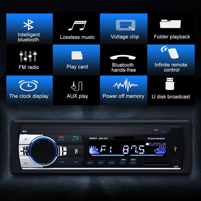 JSD 520 บลูทูธรถวิทยุสเตอริโอ MP3 ไร้สายอะแดปเตอร์เสียง 3.5 มม.AUX-IN FM U Disk เล่น 1 DIN ด้วยรีโมทคอนโทรล