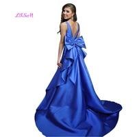 06d5f5ec70c36 Backless Long Satin Prom Dresses With Big Bow Sexy V Neck Sleeveless  Evening Formal Dress Elegant