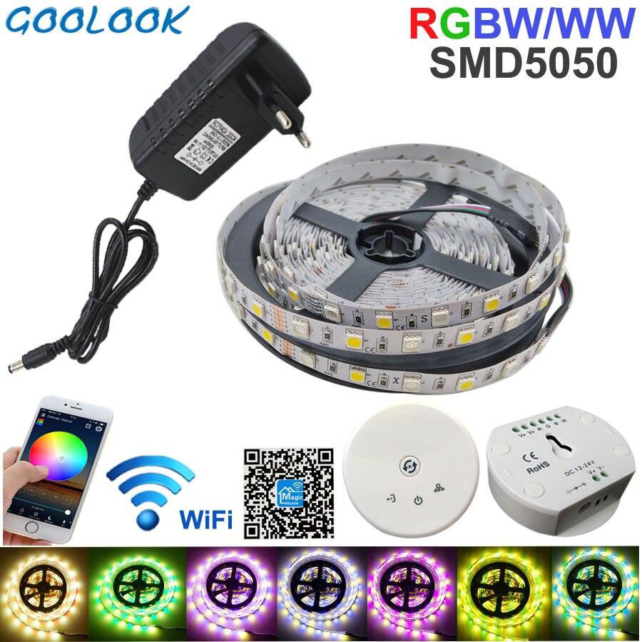 5 M LED bande RGB SMD 5050 RGBW + WW bande de lumière bande imperméable ruban lumière multicolore avec contrôleur Wifi DC 12 V adaptateur ensemble