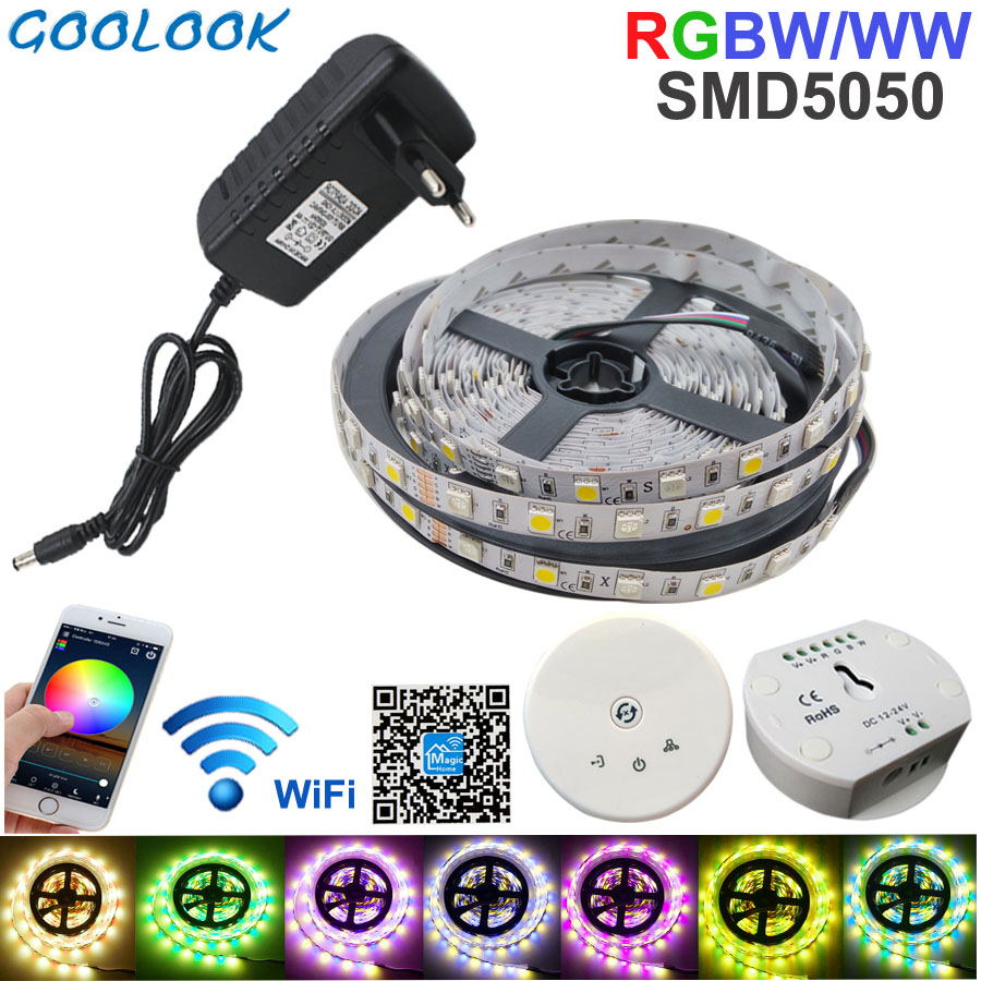 5M LED Strip RGB SMD 5050 RGBW+WW Stripe Light Tape Waterproof Ribbon Multicolor Light With Wifi Controller DC 12V Adapter Set