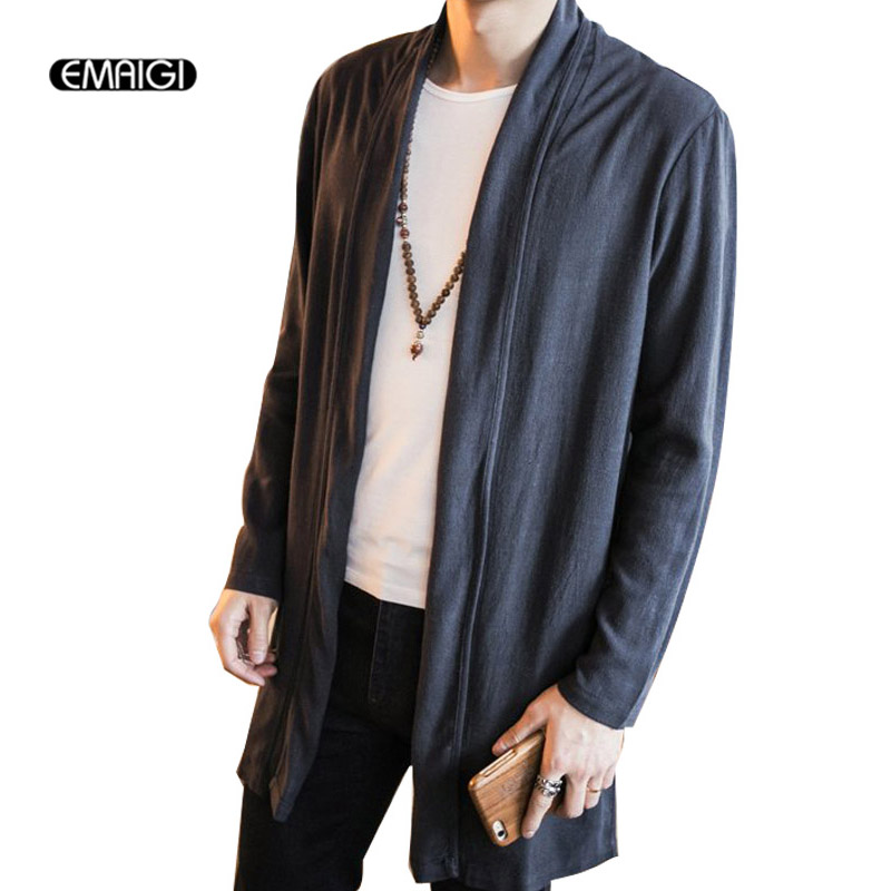 Size 5XL Men Cotton Linen Trench Jacket Male Solid Color Lapel Long Cardigan Trench Coat Thin