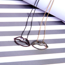 Newest Romantic Long Adjustable Crystal Red&Transparent Color Lip Necklaces For Women Cute Date Gifts Jewelry Wholesale(China)