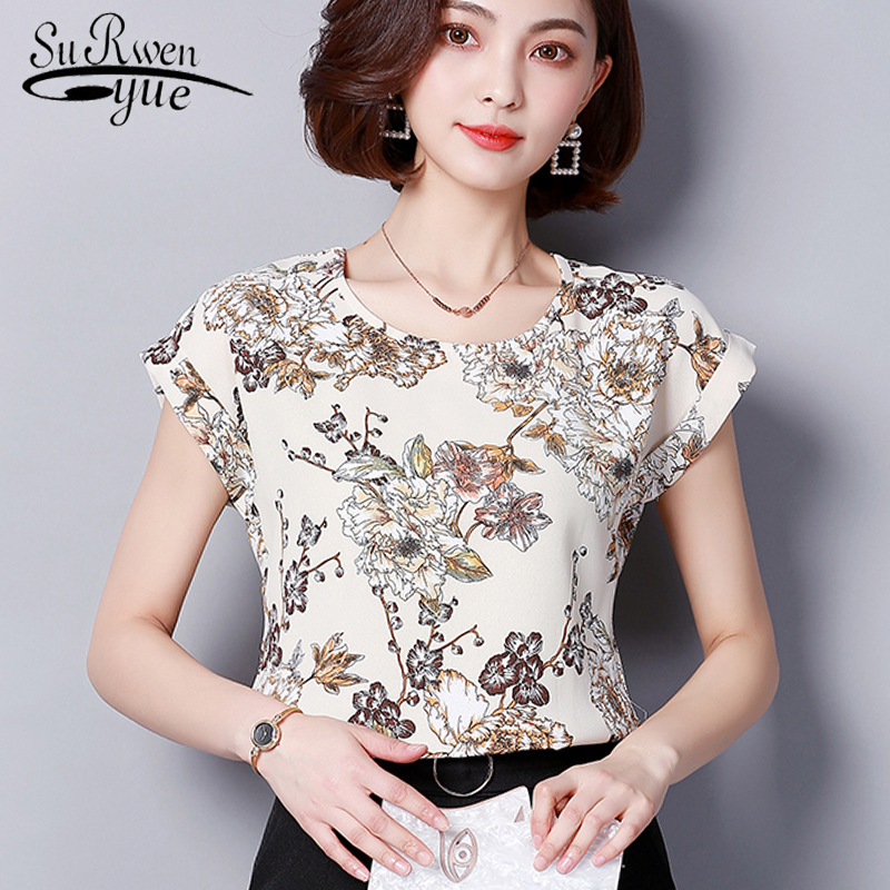 2019 New sweet Short sleeves Chiffon women   blouse     shirt   Casual plus Size women's clothing Flower print women tops Blusas D572 30