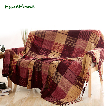 ESSIE HOME Sofa Blanket Chenille Red Beige Plaid Bohemia For Sofa  Living Room Bedroom Rug Soft Bedspread Table Cloth Tapestry
