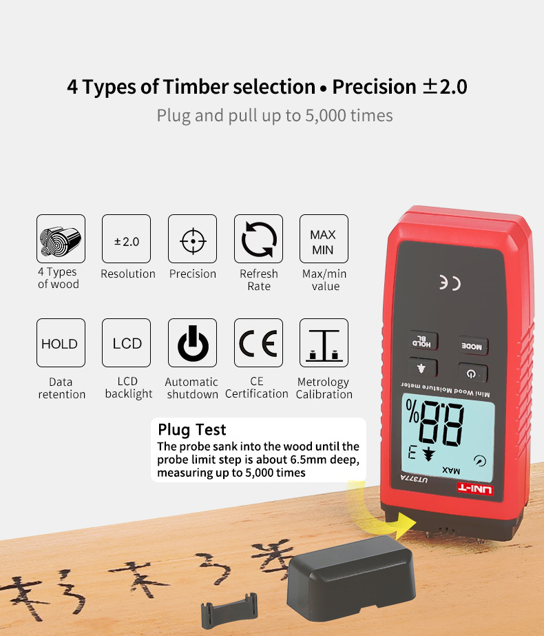 UNI T UT377A Digital Wood Moisture Meter Used as Humidity Tester for Paper Plywood and Wooden Materials 15