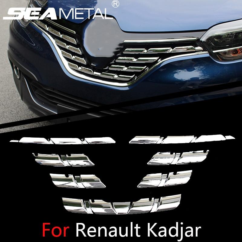 For Renault Kadjar 2015 2016 2017 2018 Car Front Grill Grid Cover Chrome Trim Chromium External
