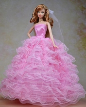 High Quality Formal 7 layers Lace Wedding Dress For Barbie Dolls Party Dress Veil Lace Vestido