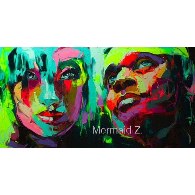 Hand painted Abstract colourful woman's man's face couple high quality oil painting for home decoration by Francoise Nielly