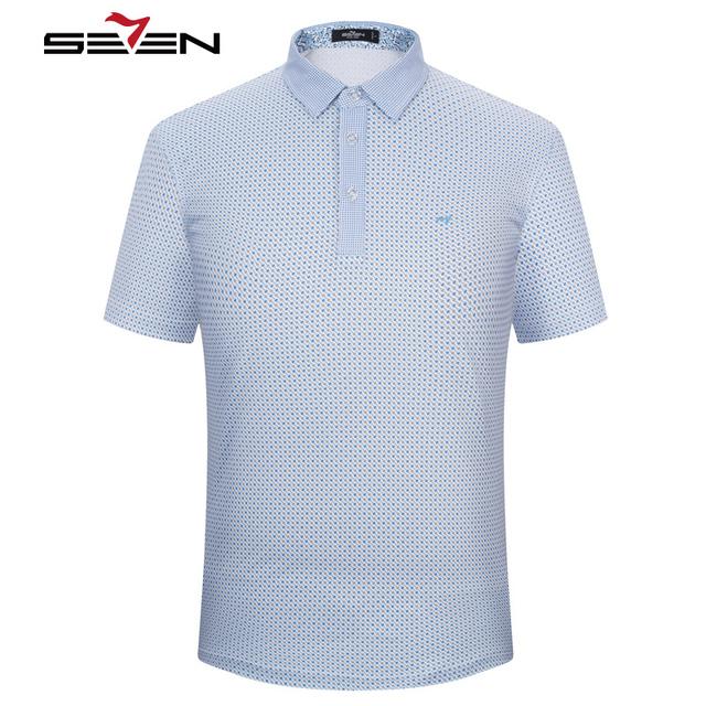 Seven7 verano moda hombre polo camisas delgadas rayas geométrica todo de impresión camisas de polo ocasionales respirables tops tees 110t50160