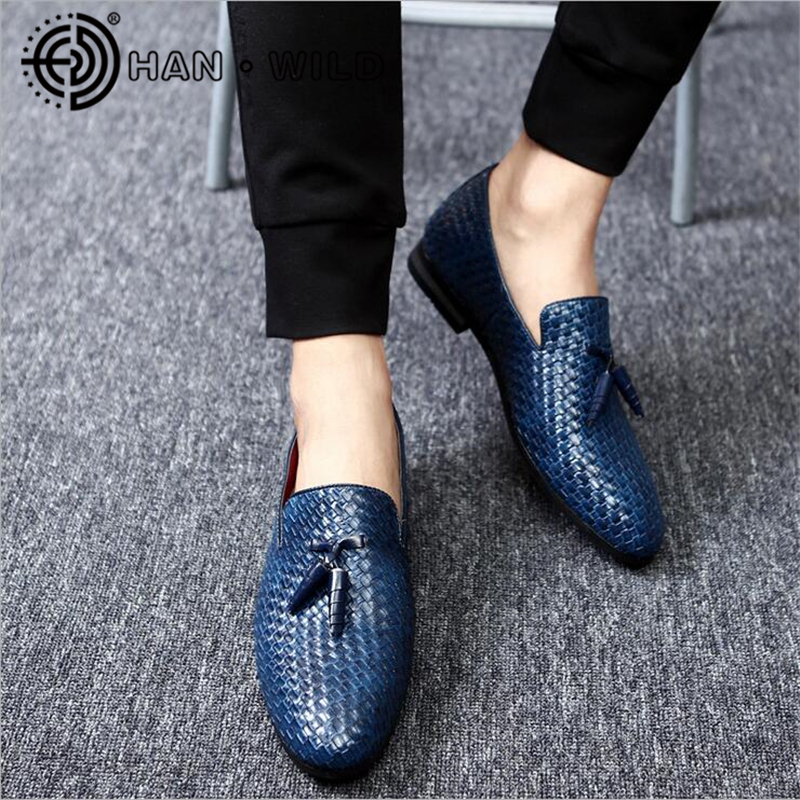 Men Dress Shoes Woven PU Leather Men Flats Spring Summer Breathable Loafers Slip On Man Driving Shoes Plus Size 37-48 viihahn men shoes summer leather loafers unisex breathable slip on car driving shoes antislip moccasins flats plus size 36 47