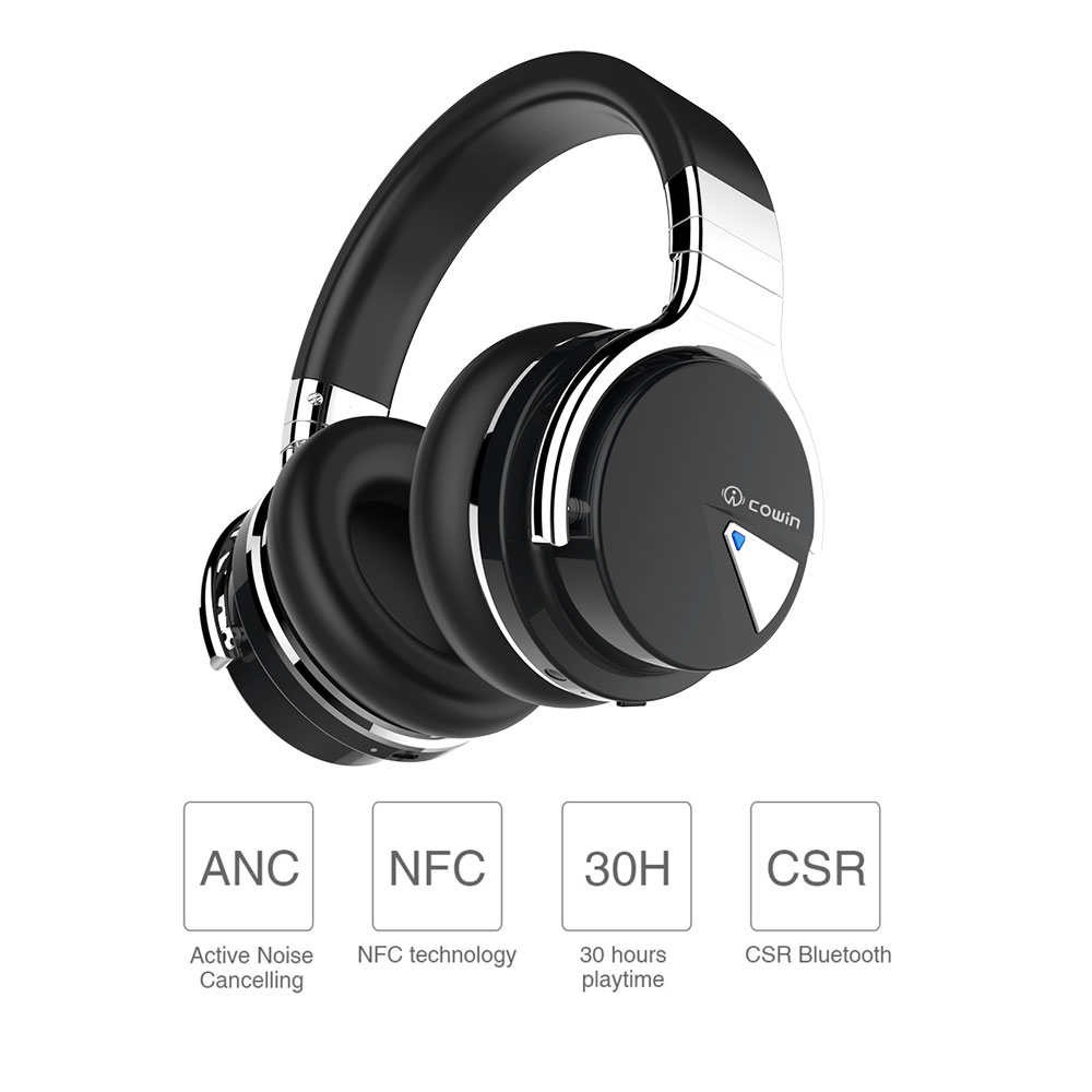 cowin e 7 bluetooth headphones wireless headset and active noise cancelling over ear headphone. Black Bedroom Furniture Sets. Home Design Ideas
